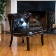 Rocio Black Leather Accent Chair