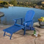Denise Austin Home Katherine Outdoor Reclining Wood Adirondack Chair with Footrest (Set of 2