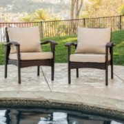 Bleecker Outdoor Brown Wicker Club Chair w/ Cushion (Set of 2)