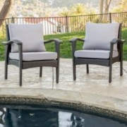 Bleecker Outdoor Grey Wicker Club Chair with Cushion (Set of 2)