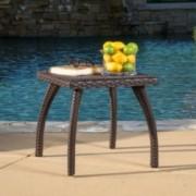 Woodridge Outdoor Brown Wicker Side Table