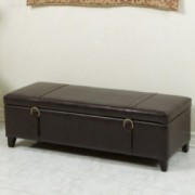 Alice Brown Bonded Leather Storage Ottoman