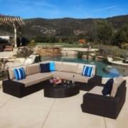 Santa Cruz Outdoor 7-piece Brown Wicker Sofa Set with Cushions