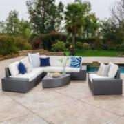 Santa Cruz Outdoor 7-piece Grey Wicker Sofa Set with Cushions