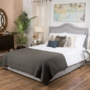 James Grey Upholstered Studded Fabric Queen Size Bed Set