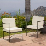 Shaffer Outdoor Black Chair with Beige Cushion (Set of 2)