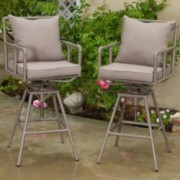 Tallahassee Outdoor Adjustable Height Swivel Bar Stools (set of 2)