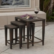 Mayall Multibrown Wicker Nested Side Tables (Set of 3)