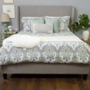 Lija Fully Upholstered Light Gray Fabric Queen Bed