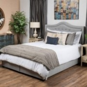 Hellar Light Gray Fabric Queen Bed Set w/ Drawers