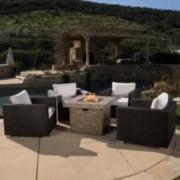 San-Louis-Obispo 5pc Outdoor Fire Pit Chat Set w/ Cushions