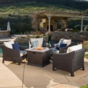 Anjali Outdoor 4-piece Wicker Club Chair Set with 32-inch Square Liquid Propane Fire Pit