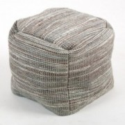 Eada Grey Cotton Embroidery Pouf Ottoman