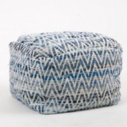Eada Blue Cotton Embroidery Pouf Ottoman