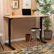 """Denise Austin Home 55"""" Maple Desk with Black Duel Powered Adjustable Height Base"""