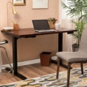 """55"""" Rich Mahogany Acacia Wood Desk with Black Duel Powered Adjustable Height Base"""