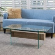 Lenak Tempered Glass and Wood Coffee Table