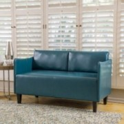 Nile Teal Leather Loveseat