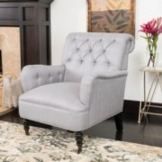 Renate Haven Linen Tufted Club Chair w/ Nail head Accents