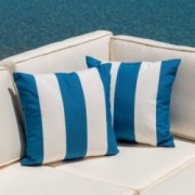 Oleta Blue and White Striped Dyed Acrylic 18 x 18 Pillow (Set of 2)