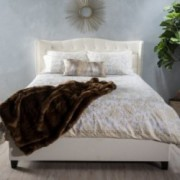 Sarah Upholstered Ivory Fabric Queen Bed Set