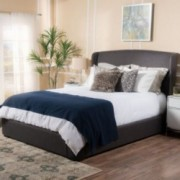 Goitin Fully Upholstered Grey Fabric Queen Bed Set