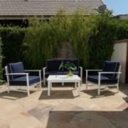 Nesiahari Outdoor 4 Seater Aluminum White and Navy Chat set