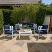 Feynrion Outdoor 5 Seater Aluminum White and Navy Chat set