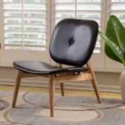Glalinar Contemporary Black Leather Accent Chair