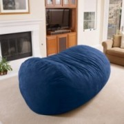 David Midnight Blue Faux Suede 8 Foot Lounger Bean Bag
