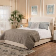 Nicene Fully Upholstered Beige Fabric Queen Bed Set