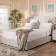 Nicene Fully Upholstered Light Grey Fabric Queen Bed Set