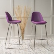 Vorow Contemporary Purple Bar Stools (Set of 2)