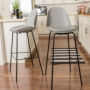 Karald Contemporary Grey Bar Stools (set of 2)