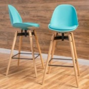Berrol Contemporary Light Blue Bar Stools (Set of 2)