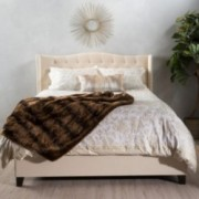 Sarah Fully Upholstered Beige Fabric Queen Bed Set