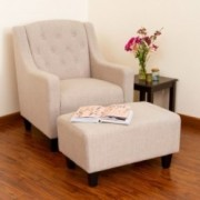 Empierre Tufted Light Beige Fabric Chair and Ottoman