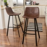 Set of 2 Rex  Faux Snake Skin Brown Bar Stools