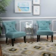 Genero Blue Fabric Chair w/ Nailhead Accents (Set of 2)