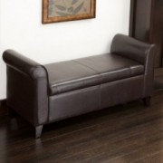 Chester Armed Brown Storage Ottoman