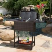 Thatiniv Contemporary Outdoor Multibrown Wicker Bar Cart