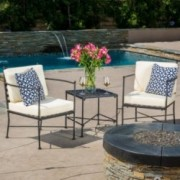 Pendell 3-piece Black Iron Chat Set with Cushions