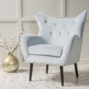 Kotop Light Grey New Velvet Wingback Arm Chair