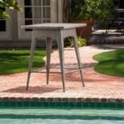 Budva Outdoor Gray Wicker Bar Table