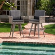Budva Outdoor Gray Wicker Barstool (set of 2)