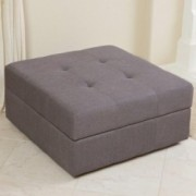 Eureka Grey Fabric Storage Ottoman