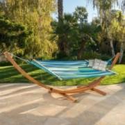 Malibu Blue Green Teal Stripe Outdoor Hammock with Base
