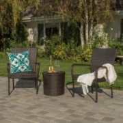 Charleston Outdoors Brown Wicker 3 Piece Stacking Chair Chat Set
