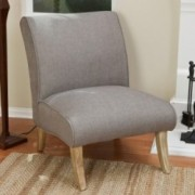 Lemma Light Grey Fabric Slipper Chair