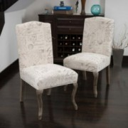 Crown Back French Script Beige Fabric Dining Chairs (Set of 2)